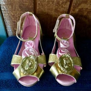 Belle Beauty & the Beast Gold Slippers Size 11/12